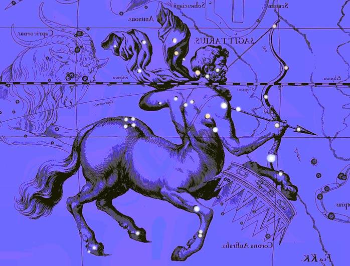 Созвездие Стрелец. Коллаж по атласу Яна Гевелия
