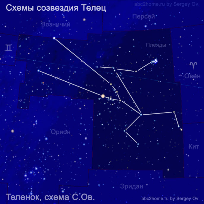 Схема из звезд созвездия Телец - Брыкучий теленок, рис. 6.2.Tau
