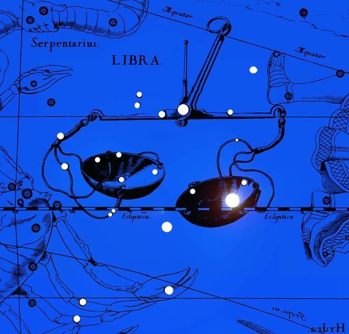 Созвездие Весов. Коллаж по атласу Яна Гевелия