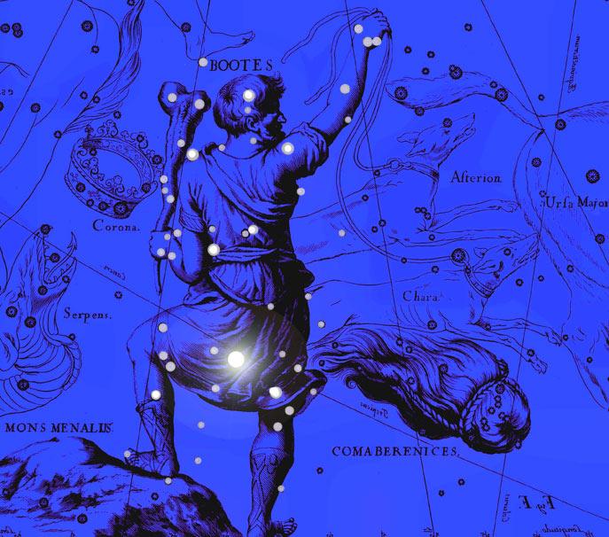 Созвездие Волопас. Коллаж по атласу Яна Гевелия