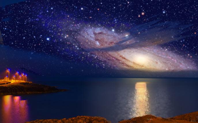Восход галактики Туманность Андромеды